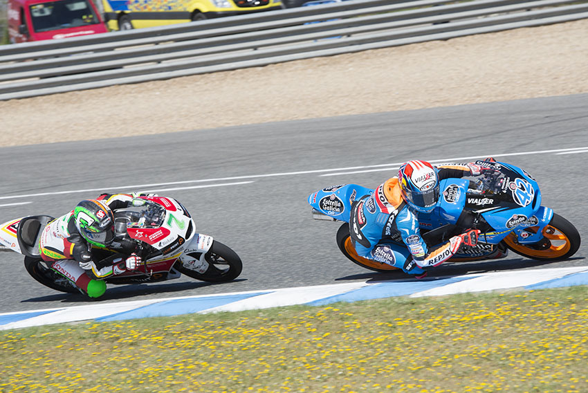 Jerez de la Frontera, Spain, 04 may , 2014: Moto3 riders Efren VAZQUEZ and Alex RINS during GRAN PREMIO bwin DE ESPAÑA, in the Jerez circuit.