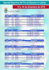 Fin de semana deportivo 12-15-18