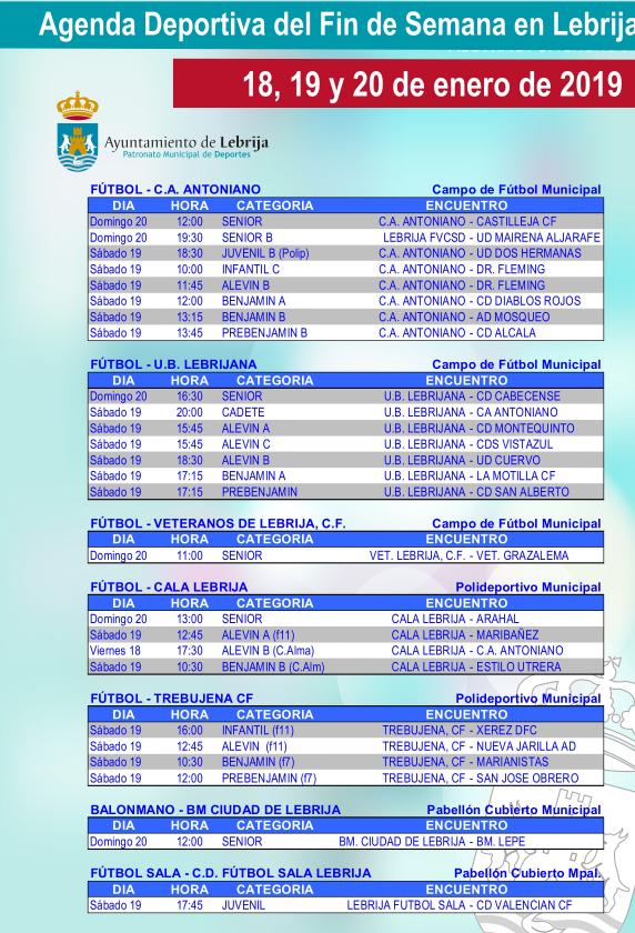 Torneo de tenis, exposición de palomas de raza, quedada Camper, fútbol, balonmano o fútbol sala, actividad deportiva en Lebrija