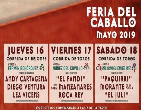 Una corrida de rejones y dos de toros para la Feria del Caballo, del 16 al 18 de mayo