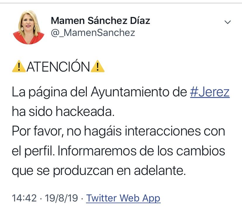 La cuenta de Twitter del Ayuntamiento de Jerez, 'hackeada' con graves amenazas